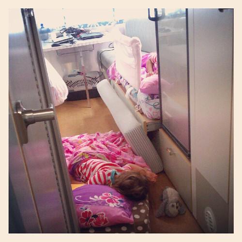 Sleepyheads in pink sheets.