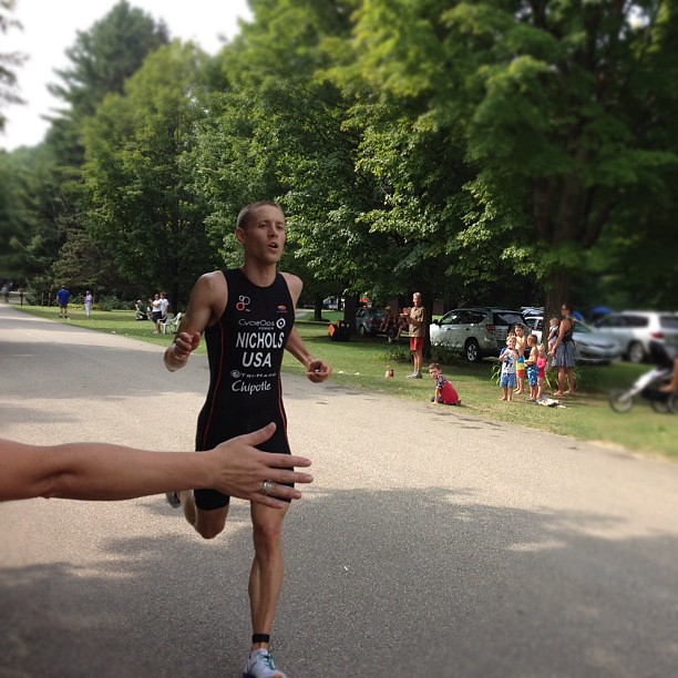 Running in for a first place finish. @triathlonbrett #vermontsun #latergram