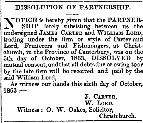 9 Oct 1863 Carter and Lord Fruiterers and Fishmongers