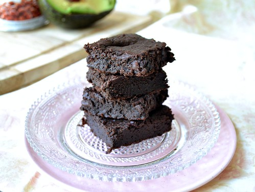 stacked healthy fudgy brownies on pretty plate