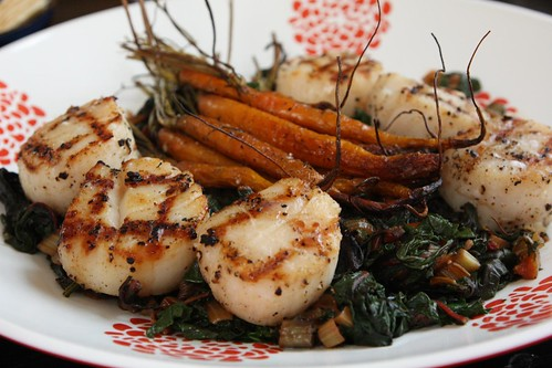 Grilled Sea Scallops, Roasted Baby Carrots, and Wilted Swiss Chard
