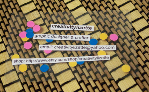 Creativitylizette diy laminated business cards diy laminated business cards reheart Choice Image