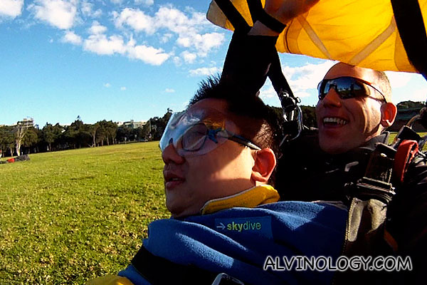 End of my tandem skydiving!