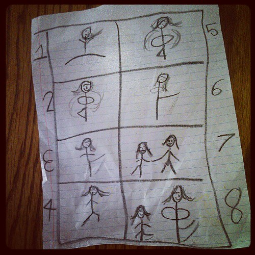 Annalie drew the steps of a dance she was teaching Aurora. She calls it Annalie's Pas de Deux For Two.