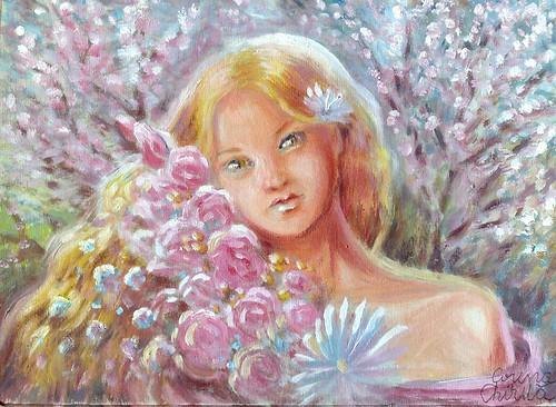 Pictura de primavara in tempera  portret de fata cu flori - girl portrait with flowers spring painting