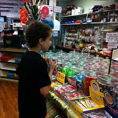 Aidan at the candy store.