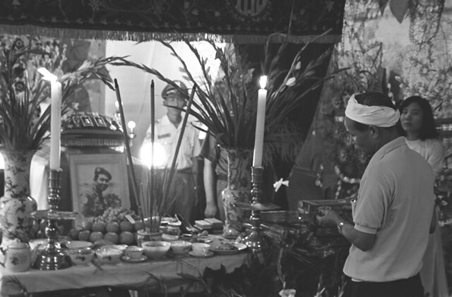 Funeral altar for Vietnamese police chief killed by a U.S. rocket; Saigon June 1968