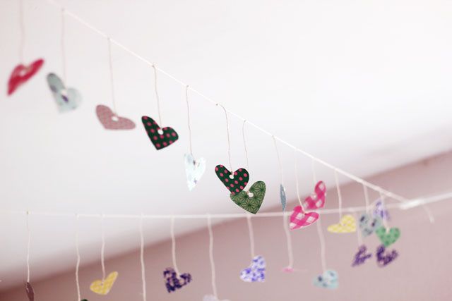 wrapping paper hearts on string
