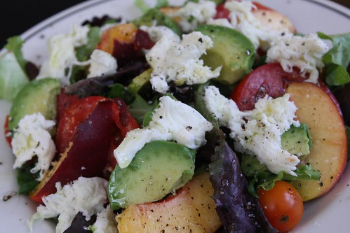 Avocado, Tomato, and Peach Salad with Fresh Mozzarella