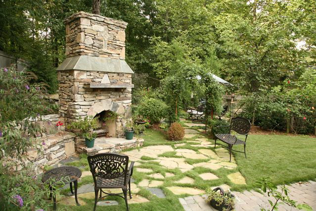 ... Flagstone patio and stone outdoor fireplace ... - Outdoor Fireplaces Projects Hedberg Landscape And Masonry