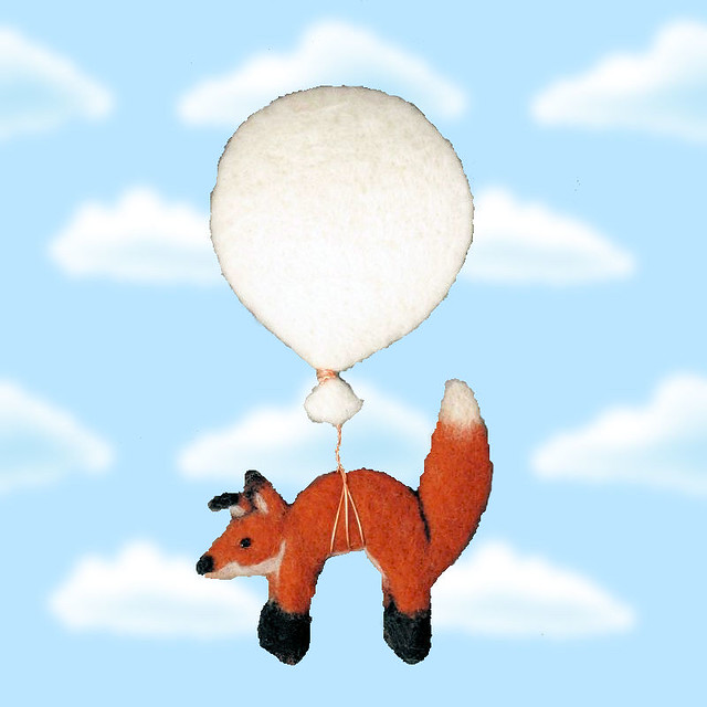 Air Fox One - needle felted brooch
