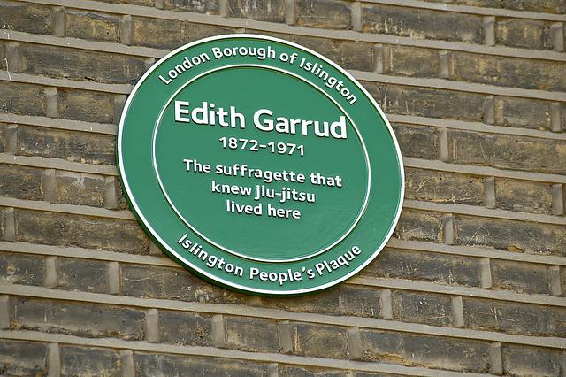 Edith Margaret Garrud green plaque - Edith Margaret Garrud 1872 - 1971 the suffragette that knew ju jitsu lived here