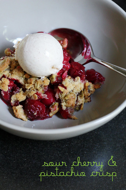 sour cherry and pistachio crisp