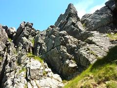 Trace Samulaghja-Quercitella au retour : le haut du couloir herbeux avec la faille rocheuse du retour