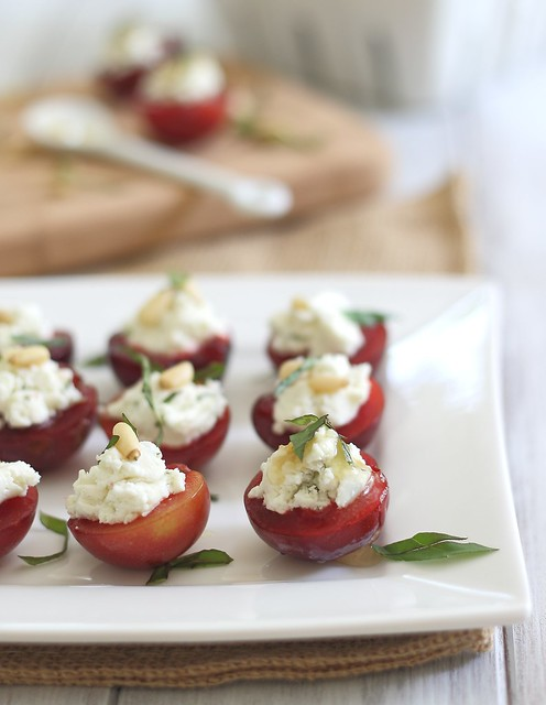 Stuffed plums with goat cheese
