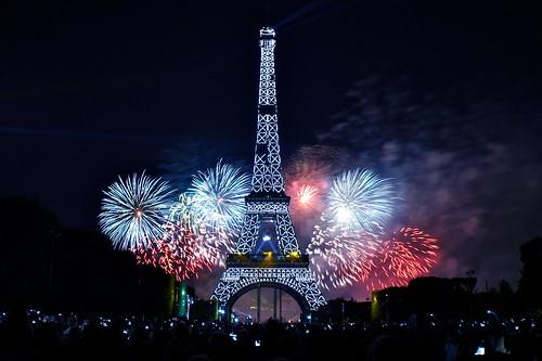 無料写真素材, 建築物・町並み, 塔・タワー, エッフェル塔, 風景  フランス, フランス  パリ, 花火, 夜景
