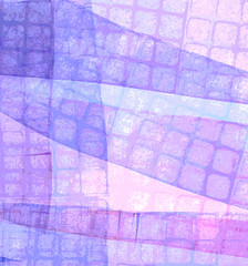 Pink and Blue Composition with Square Grid (Digital Print) by randubnick