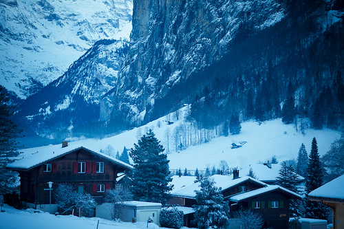 Lauterbrunnen Valley, Swiss Alps. View from Wengen to Lauterbrunnen Train
