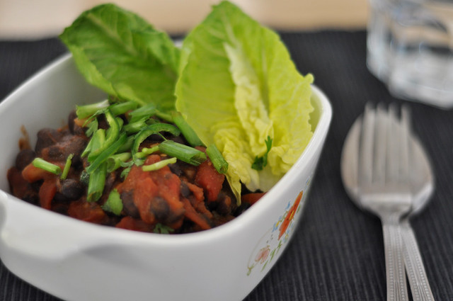 black beans, brown rice and lettuce