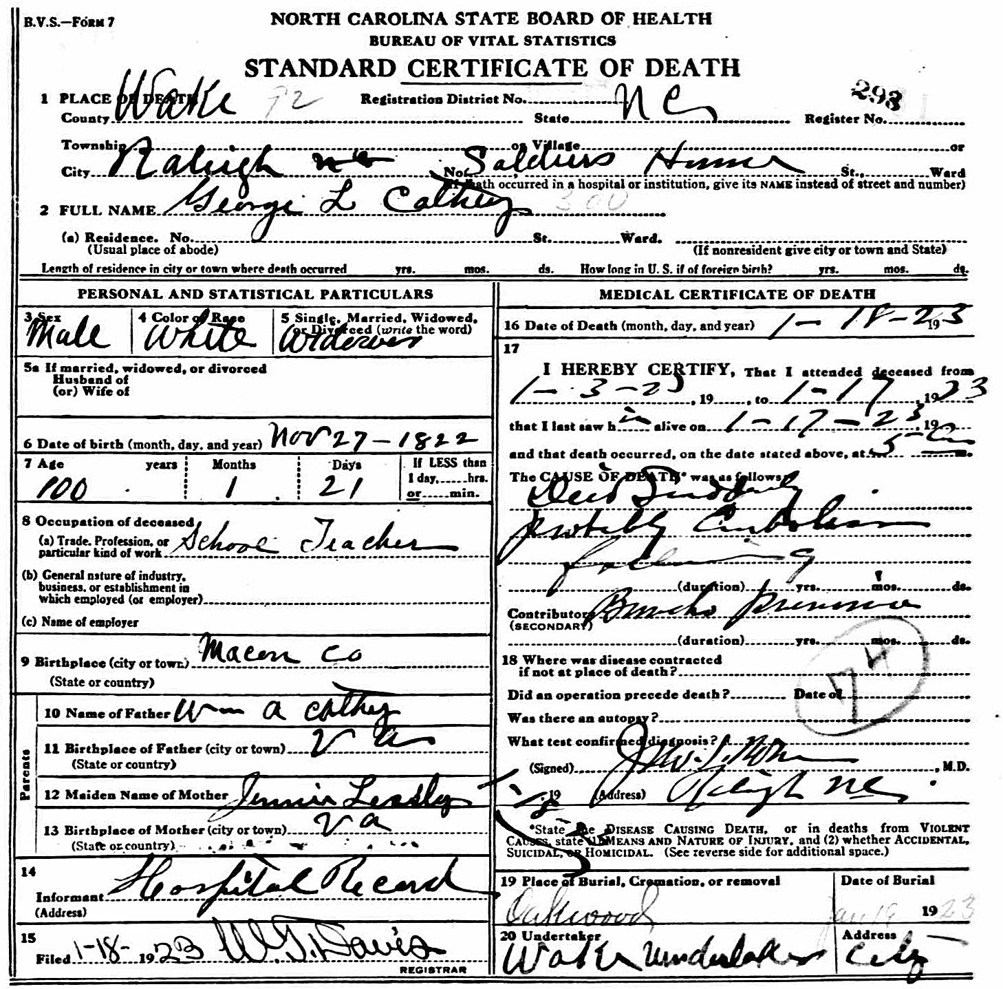 Captain George Leonidas Cathey Death Certificate