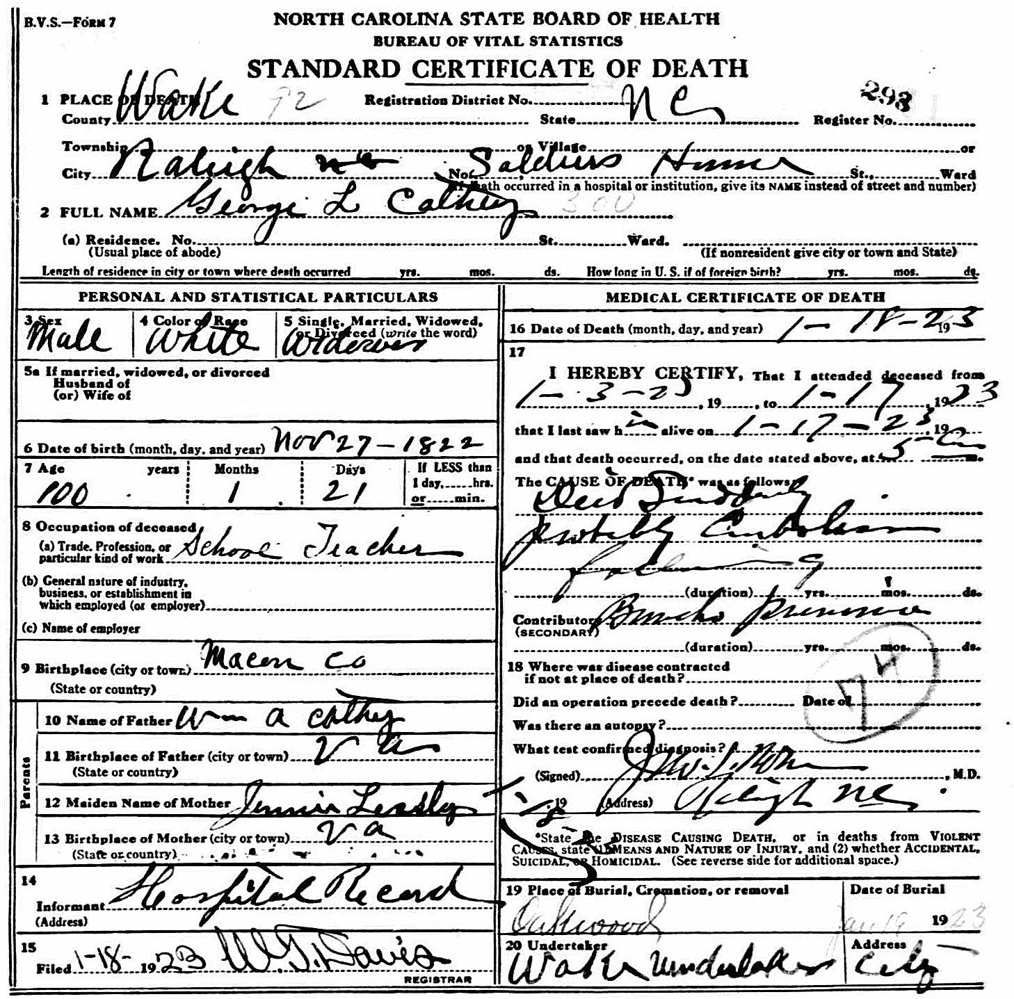 Captain George Leonidas Cathey Death Certificate