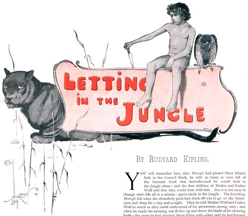 Cecil Aldin (1870-1935) - Mowgli, Bagheera and Chil (logo illustration for Letting In the Jungle by Rudyard Kipling, Pall Mall Budget, 13 December 1894 Christmas Number)