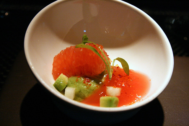 "Avocado and grapefruit ""ruby red"" with fresh coriander"