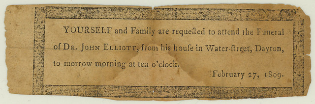 Invitation to Dr. John Elliot's funeral, 1809