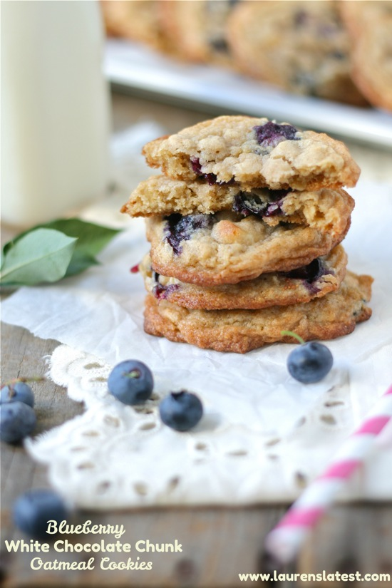 Blueberry White Chocolate Chunk Oatmeal Cookies | Lauren's Latest