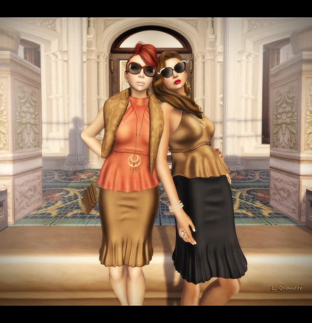 Suri and Lila  in Vintage Fair Baiastice_Corsage Mesh Halter-neck Tops and Lian Mesh Longuette Skirts
