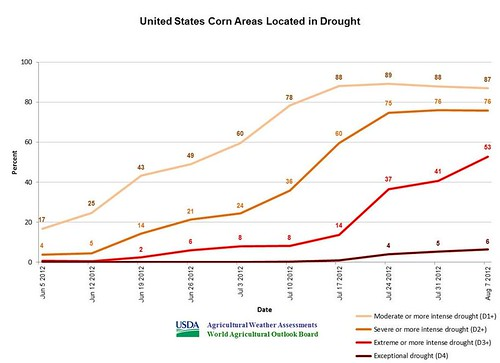 U.S corn areas located in drought.