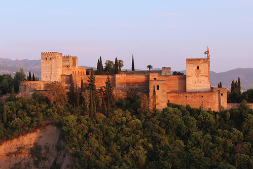 sunset red architecture one spain palace alhambra moorish granada andalusia fortress complex