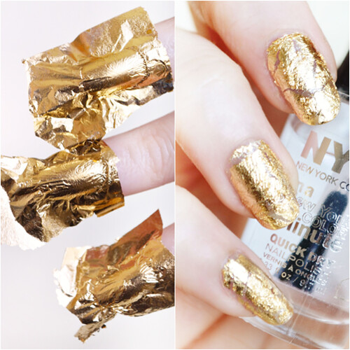 Gold leaf nail art how to