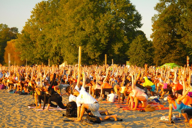 SeaWheeze sunset yoga event, Kits Beach