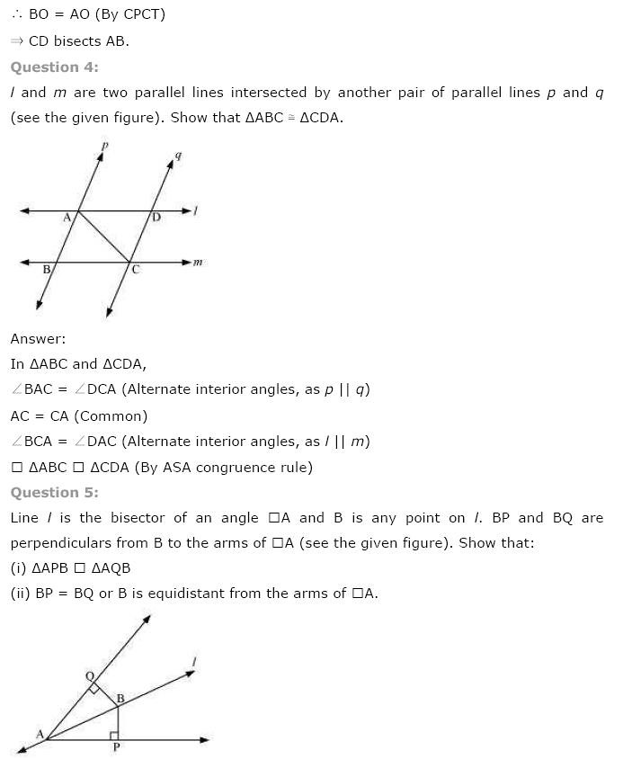 NCERT Solutions for Class 9 Maths Chapter 7 Triangles