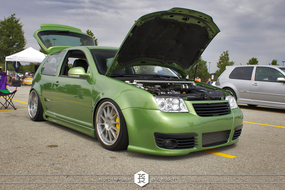 green vw mk4 golf gti polo at midwest treffen 2012 3pc wheels static airride low slammed coilovers stance stanced hellaflush poke tuck negative postive camber fitment fitted tire stretch laid out hard parked seen on klutch republik