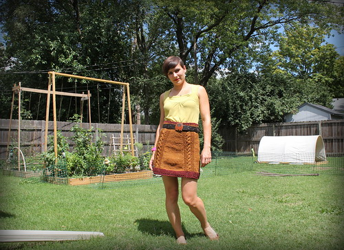 20120818. Handknit skirt, using the Bryn Mawr pattern.