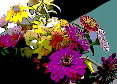 Front Seat Bouquet (Digital Woodcut) by randubnick