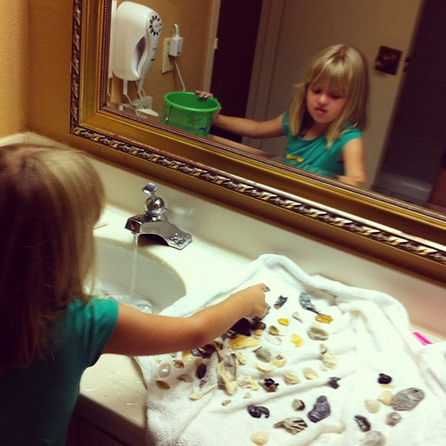 Washing & sorting today's seashell haul in the hotel bathroom. My OCD kid is in heaven.