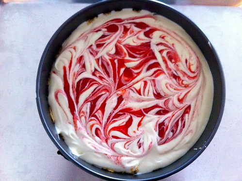 Strawberry Swirl Cheesecake Ready for Baking