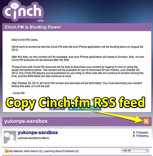 Copy Cinch.fm RSS Feed