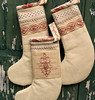 Hand Embroidered Redwork Christmas Stockings