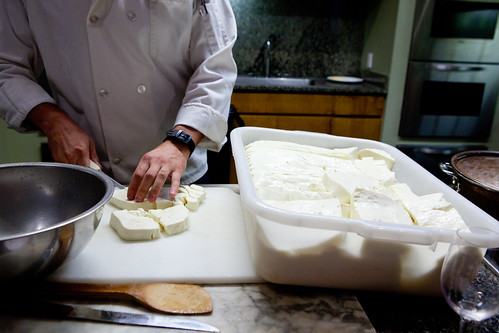 Showing the class how to make our mozzarella