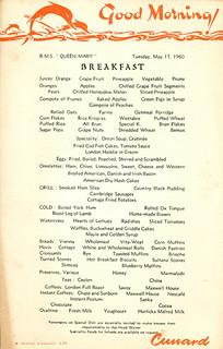 Queen Mary - Breakfast Menu (1960)
