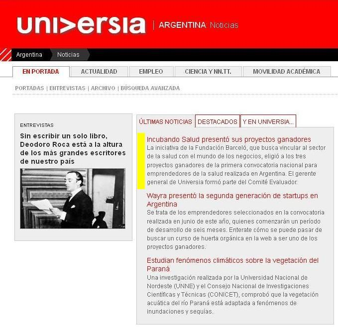 Site Universia (home) - Incubando Salud presentó sus proyectos ganadores - 17.08.12