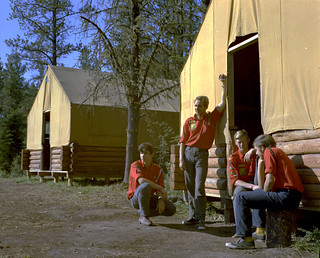 Junior Forest Wardens in camp, Blue Lake, Alberta