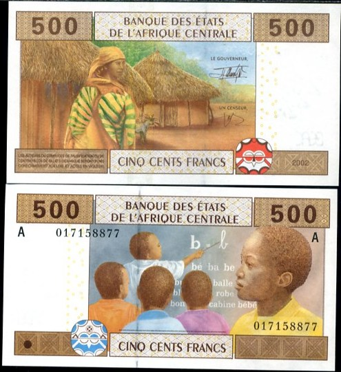 500 Frankov Gabon (Central African States) 2002, Pick 406A