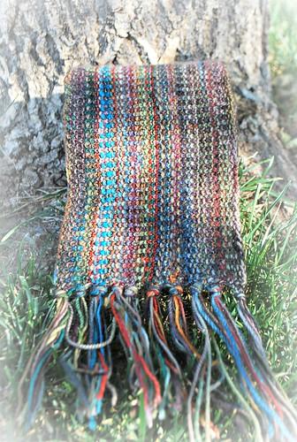 Linen stitch man scarf tassels