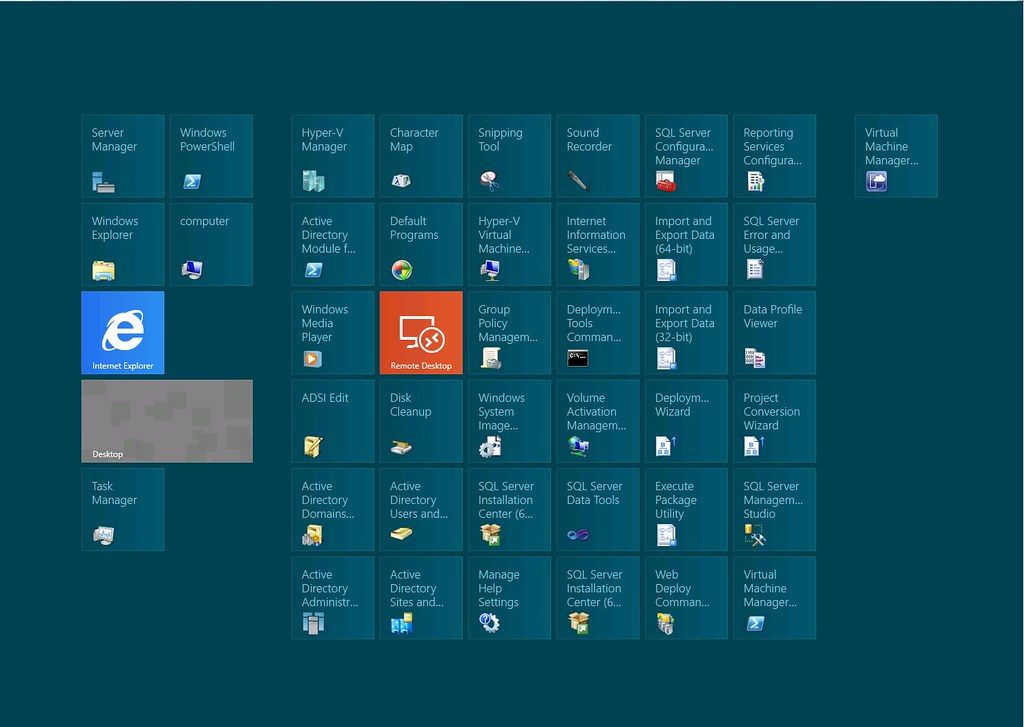 Windows Server 2012 Start Screen