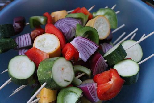 Veggie kebabs.